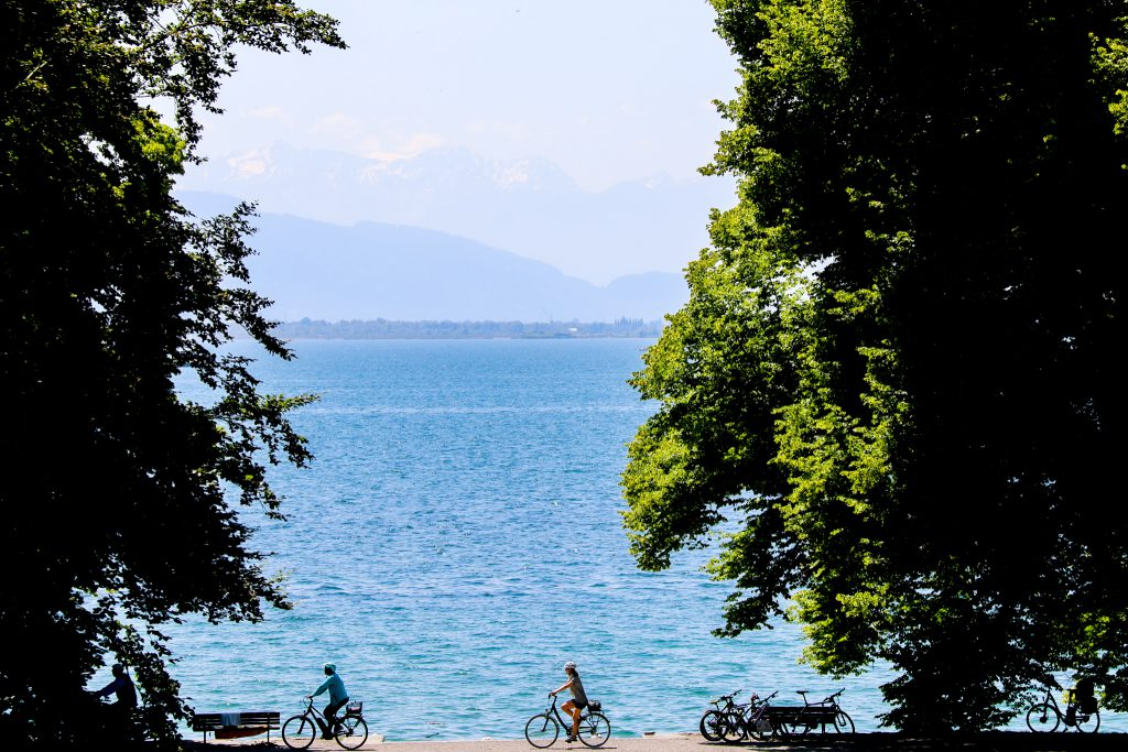 Zwei Fahrradfahrer auf dem Radweg um den Bodensee
